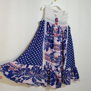 NEW Sundress Blue Multi Polkadot Floral Lace Ruffl